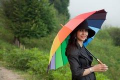 όμορφη γυναικεία ομπρέλα καπέλων Στοκ εικόνα με δικαίωμα ελεύθερης χρήσης