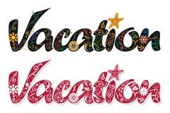 Όμορφη διακόσμηση για τη λέξη διακοπών, χειρόγραφο γραφής Στοκ Φωτογραφίες