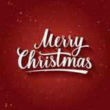 Όμορφη εγγραφή της Χαρούμενα Χριστούγεννας στο υπόβαθρο κόκκινου χρώματος με snowflakes χαιρετισμός καλή χρονιά καρτών του 2007 Στοκ Εικόνα