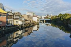 Όμορφη εικονική παράσταση πόλης γύρω από την kanagawa-γνώση Στοκ Φωτογραφία