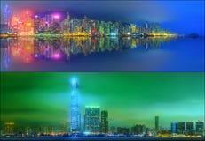 Όμορφη εικονική παράσταση πόλης καθορισμένη και κολάζ της οικονομικής περιοχής, Χονγκ Κονγκ Στοκ Εικόνες