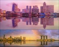 Όμορφη εικονική παράσταση πόλης καθορισμένη και κολάζ του κόλπου μαρινών Στοκ φωτογραφίες με δικαίωμα ελεύθερης χρήσης