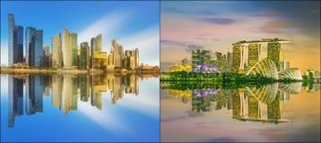 Όμορφη εικονική παράσταση πόλης καθορισμένη και κολάζ του κόλπου μαρινών Στοκ Εικόνες