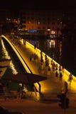 Όμορφη εικόνα της γέφυρας Zadar τη νύχτα Στοκ Φωτογραφία