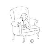 Όμορφη εκλεκτής ποιότητας καρέκλα, χαριτωμένο σκυλί και μια σφαίρα διανυσματική απεικόνιση