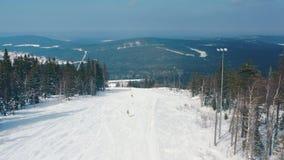 Όμορφη εναέρια άποψη των ανθρώπων σε μια κλίση σκι που αρχίζει να κάνει σκι κάτω μιας διαδρομής κοντά στα κωνοφόρα δέντρα και το  απόθεμα βίντεο