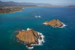 Όμορφη εναέρια άποψη των νησιών Oahu Χαβάη Moke στοκ εικόνες