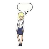 όμορφη επιχειρηματίας κινούμενων σχεδίων με τη λεκτική φυσαλίδα Στοκ Εικόνα