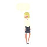 όμορφη επιχειρηματίας κινούμενων σχεδίων με τη λεκτική φυσαλίδα Στοκ Εικόνες