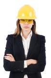 Όμορφη επιχειρηματίας με το σκληρό καπέλο Στοκ Εικόνες