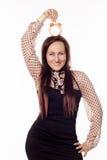 Όμορφη επιχειρηματίας που κρατά ένα ρολόι στο κεφάλι της Στοκ φωτογραφίες με δικαίωμα ελεύθερης χρήσης