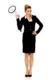 Όμορφη επιχειρηματίας που φωνάζει με megaphone Στοκ Φωτογραφία