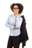 Όμορφη επιχειρησιακή γυναίκα αφροαμερικάνων που απομονώνεται στο λευκό Στοκ φωτογραφία με δικαίωμα ελεύθερης χρήσης