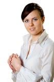 Όμορφη επιχειρησιακή γυναίκα στο λευκό Στοκ Εικόνες