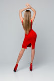 Όμορφη λεπτή γυναίκα που στέκεται προς τα πίσω Οπισθοσκόπος ενός όμορφου κόκκινου φορέματος, κόκκινα παπούτσια με τα υψηλά τακούν Στοκ Εικόνες