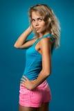 Όμορφη λεπτή γυναίκα σε μια μπλούζα στοκ εικόνες με δικαίωμα ελεύθερης χρήσης