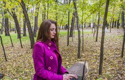 Όμορφη εργασία γυναικών και επιστολές γραψίματος στο lap-top στο πάρκο φθινοπώρου Στοκ Εικόνα