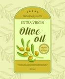 Όμορφη ετικέτα για το πετρέλαιο με το πράσινο κλαδί ελιάς επίσης corel σύρετε το διάνυσμα απεικόνισης Στοκ φωτογραφία με δικαίωμα ελεύθερης χρήσης
