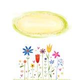 Όμορφη ευχετήρια κάρτα με τα λουλούδια Στοκ φωτογραφία με δικαίωμα ελεύθερης χρήσης