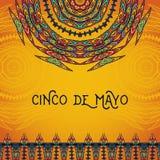 Όμορφη ευχετήρια κάρτα, πρόσκληση για το φεστιβάλ Cinco de Mayo Έννοια σχεδίου για τις μεξικάνικες διακοπές γιορτής Στοκ εικόνες με δικαίωμα ελεύθερης χρήσης