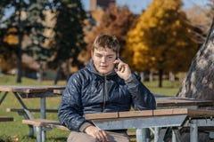 όμορφη εφηβική συνεδρίαση αγοριών στο ηλιόλουστο θερμό πάρκο και επικοινωνία στο κινητό τηλέφωνο στο φυσικό κλίμα φθινοπώρου στοκ φωτογραφίες με δικαίωμα ελεύθερης χρήσης