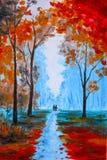 Όμορφη ζωγραφική, όμορφο φθινόπωρο χρωμάτων watercolor στο δάσος ελεύθερη απεικόνιση δικαιώματος
