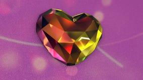 Όμορφη ζωηρόχρωμη διαμορφωμένη διαμάντι καρδιά με τα τρέμοντας φω'τα φιλμ μικρού μήκους