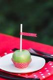 Όμορφη ζωηρόχρωμη διακόσμηση με το μήλο στο πιάτο Στοκ εικόνα με δικαίωμα ελεύθερης χρήσης