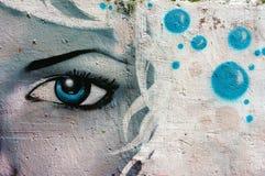 Όμορφη, ζωηρόχρωμη τέχνη γκράφιτι, οδός του Βιετνάμ Στοκ Εικόνα