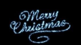 Όμορφη ζωτικότητα κειμένων Χαρούμενα Χριστούγεννας που απομονώνεται στο μαύρο υπόβαθρο αστέρια ουρανού έννοιας σύννεφων HD 1080 ελεύθερη απεικόνιση δικαιώματος