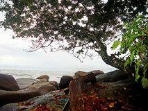 Όμορφη ημέρα στην παραλία Temajuk στο Μπόρνεο Ινδονησία Στοκ Εικόνες