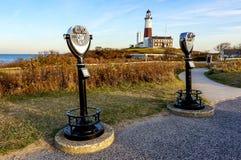 Όμορφη ημέρα φθινοπώρου για να επισκεφτεί το φάρο Hamptons Νέα Υόρκη σημείου Montauk στοκ εικόνα με δικαίωμα ελεύθερης χρήσης