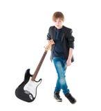 Όμορφη ηλεκτρική κιθάρα μορίων αγοριών Στοκ φωτογραφίες με δικαίωμα ελεύθερης χρήσης