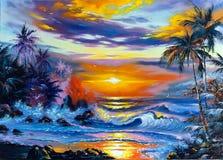 όμορφη θάλασσα τοπίων διανυσματική απεικόνιση