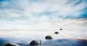 Όμορφη θάλασσα - επίπεδο με τον ουρανό φαντασίας και την πέτρα, νεκρό δέντρο Στοκ Εικόνες