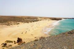 Όμορφη θέα των παραλιών Playas Papagayo από την άποψη, Lanzarote, Κανάρια νησιά Στοκ Φωτογραφία