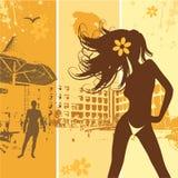 όμορφη θερινή γυναίκα παρα& Στοκ εικόνα με δικαίωμα ελεύθερης χρήσης