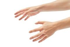 Όμορφη θηλυκή πνίγοντας χειρονομία χεριών η ανασκόπηση απομόνωσε το λευκό στοκ φωτογραφίες