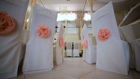 Όμορφη διακόσμηση αιθουσών για το γάμο απόθεμα βίντεο