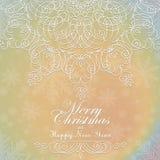 Όμορφη διακόσμηση δαντελλών για την κάρτα Χαρούμενα Χριστούγεννας διανυσματική απεικόνιση