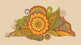 Όμορφη ινδική εθνική floral διακόσμηση mandala Henna ύφος δερματοστιξιών Στοκ φωτογραφία με δικαίωμα ελεύθερης χρήσης