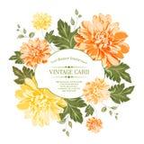 Όμορφη κάρτα με ένα στεφάνι των διαφορετικών λουλουδιών χρώματος. απεικόνιση αποθεμάτων