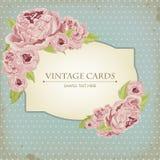 Όμορφη κάρτα με τα peonies Στοκ Εικόνα