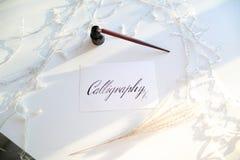 Όμορφη κάρτα με την καλλιγραφική επιγραφή του μαύρου μελανιού επάνω Στοκ εικόνες με δικαίωμα ελεύθερης χρήσης