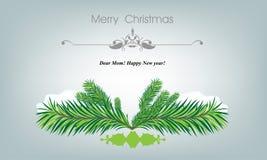 Όμορφη κάρτα Χαρούμενα Χριστούγεννας με το δέντρο και snowflakes έλατου Στοκ φωτογραφίες με δικαίωμα ελεύθερης χρήσης
