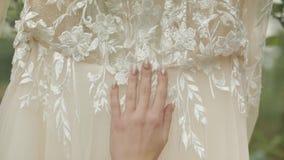 Όμορφη και καλή νύφη στην εσθήτα και το πέπλο νύχτας Γαμήλιο φόρεμα o απόθεμα βίντεο