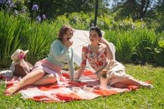 Όμορφη καρφίτσα δύο επάνω στις κυρίες που έχουν το συμπαθητικό πικ-νίκ στο πάρκο πόλεων σε μια ηλιόλουστη ημέρα από κοινού οι φίλ στοκ φωτογραφία