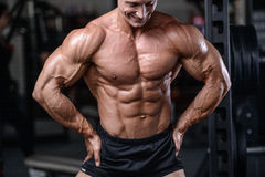 Όμορφη κατάρτιση bodybuilder στους προκλητικούς αλτήρες ανελκυστήρων ατόμων γυμναστικής Στοκ Φωτογραφία