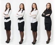 Όμορφη καυκάσια νέα επιχειρησιακή γυναίκα καφετής-τρίχας στο άσπρο υπόβαθρο Διευθυντής ή εργαζόμενος Διαστημική διαφήμιση αντιγρά στοκ φωτογραφίες με δικαίωμα ελεύθερης χρήσης