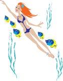 όμορφη κολύμβηση κοριτσιώ& Στοκ Εικόνες